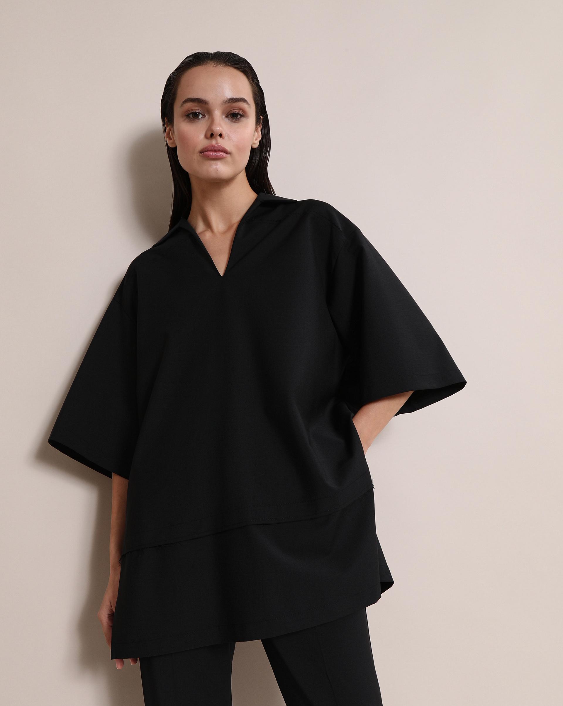 12STOREEZ Блуза с разрезами по бокам (Черный)