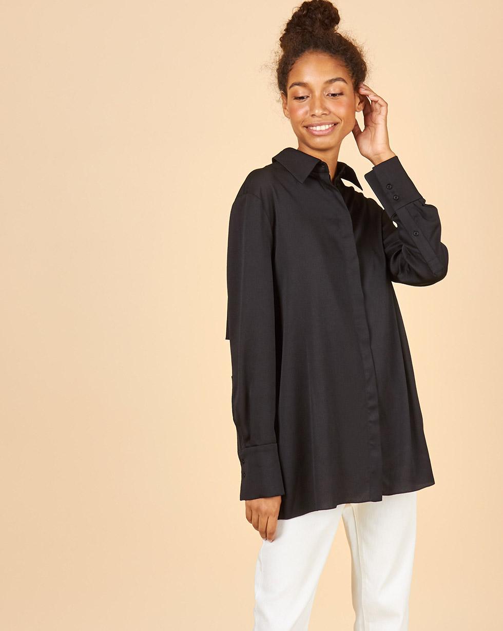 12Storeez Рубашка с отлетной кокеткой (черный) 12storeez рубашка из лакированной кожи черный