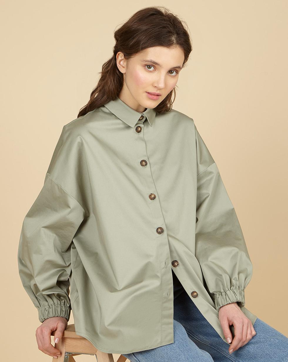 12Storeez Рубашка из плотного хлопка (светло-зеленый)