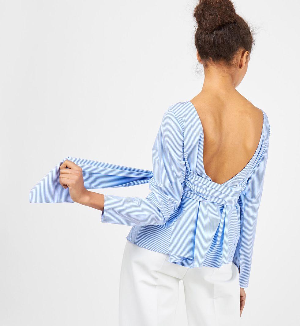Рубашка в полоску с бантом Sрубашки<br><br><br>Артикул: 23008606<br>Размер: S<br>Цвет: Синий<br>Новинка: НЕТ<br>Наименование en: Stripe tie waist shirt