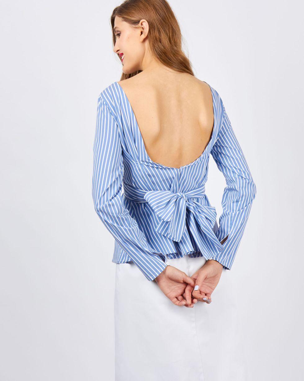 Рубашка в полоску с бантом XSРубашки<br><br><br>Артикул: 23008606<br>Размер: XS<br>Цвет: Синий<br>Новинка: НЕТ<br>Наименование en: Stripe tie waist shirt