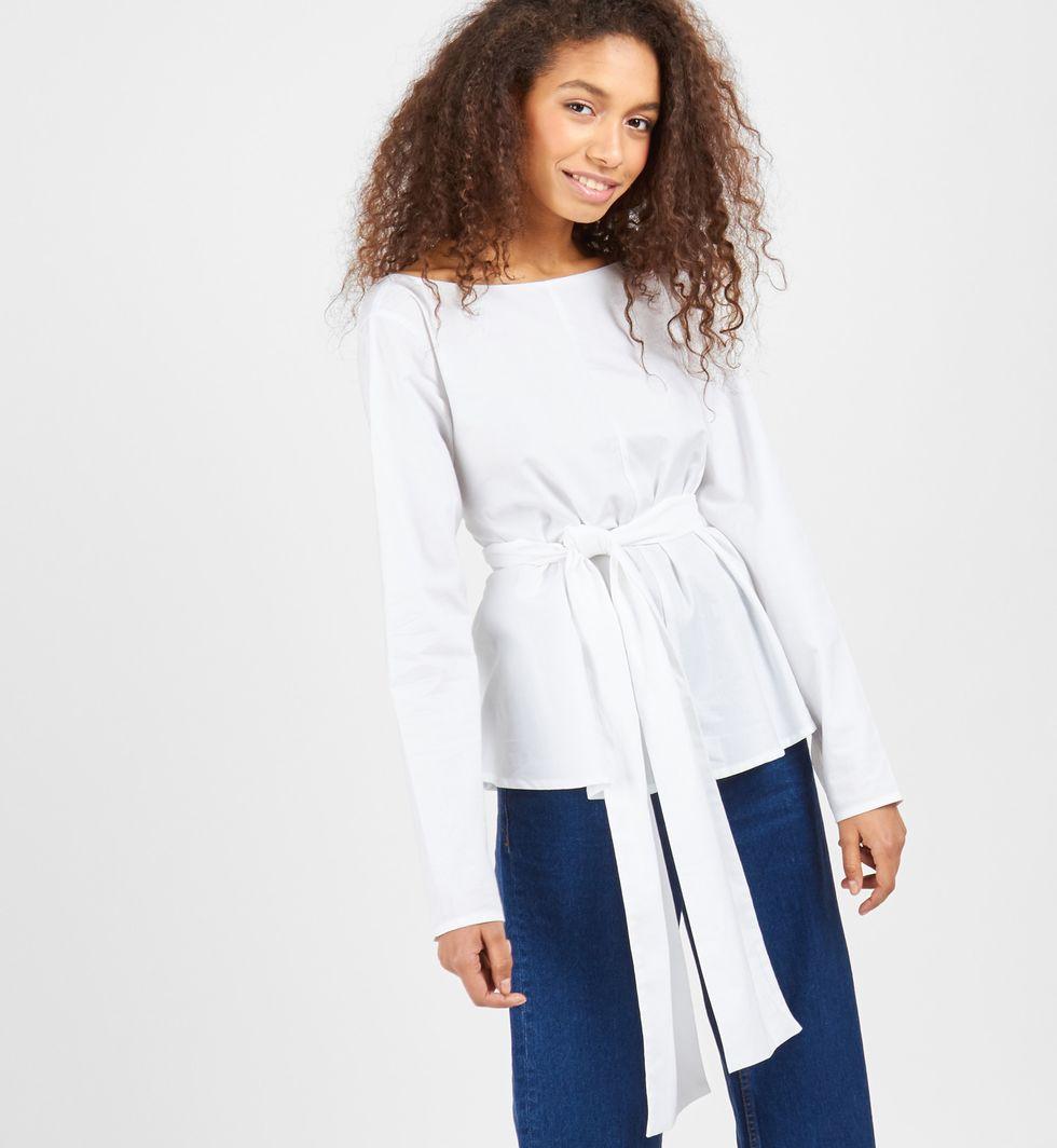 12Storeez Рубашка однотонная с бантом (белый) цена и фото