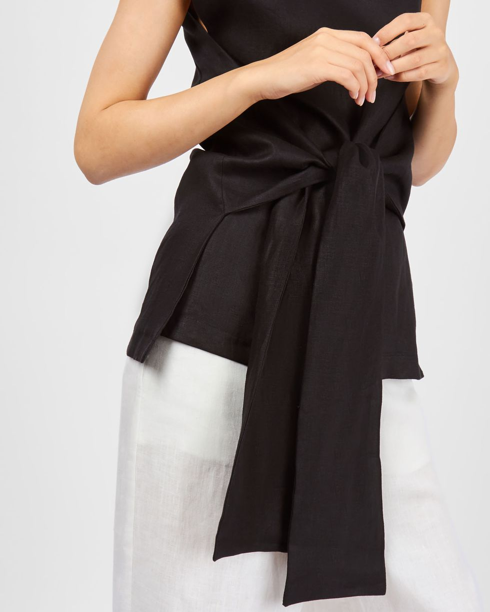 12Storeez Топ с завязками изо льна (черный) 12storeez костюм топ с длинными рукавами и удлиненные шорты изо льна черный