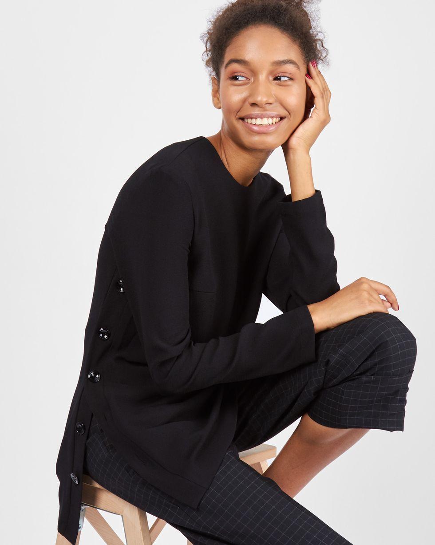 Блуза с пуговицами сбоку SТопы и блузы<br><br><br>Артикул: 82810337<br>Размер: S<br>Цвет: Черный<br>Новинка: НЕТ<br>Наименование en: Side button placket blouse