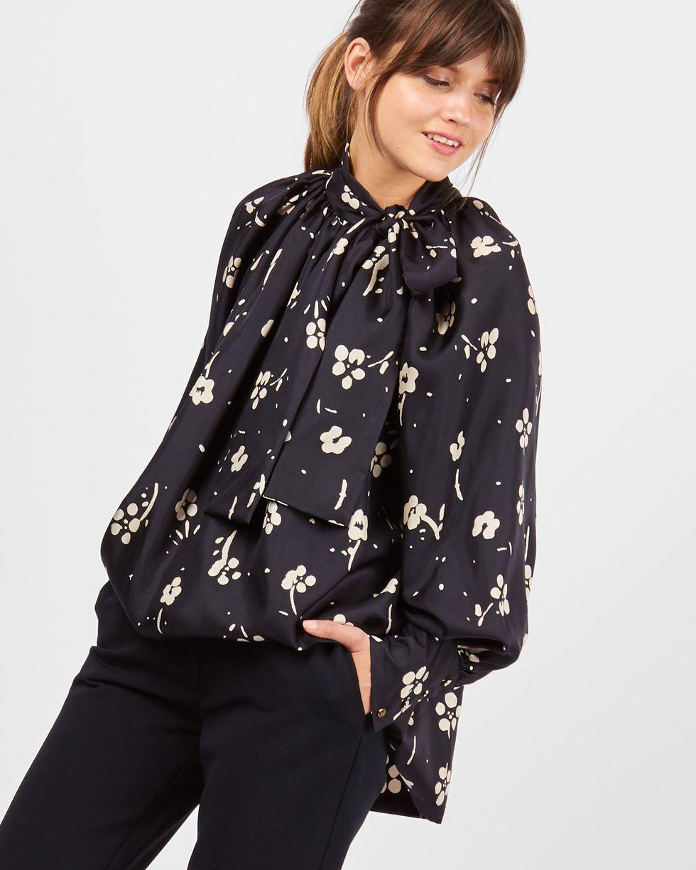 12Storeez Блуза с бантом в цветок (черный) блуза