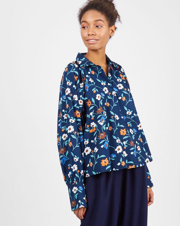 Блуза с объемными рукавами на стойке One sizeТопы и блузы<br><br><br>Артикул: 82810714<br>Размер: One size<br>Цвет: Синий<br>Новинка: НЕТ<br>Наименование en: High neck oversized blouse