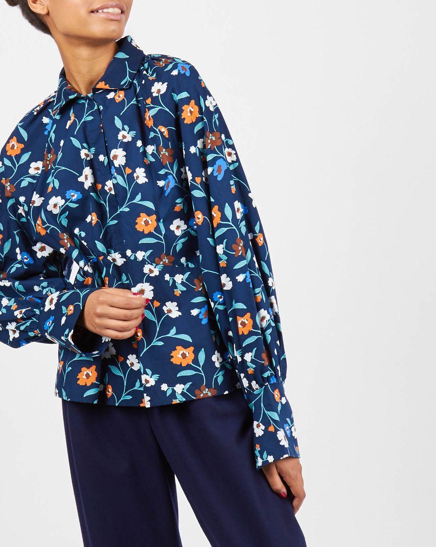 12Storeez Блуза с объемными рукавами на стойке (синий) 12storeez блуза удлиненная с круглым воротником коричневый