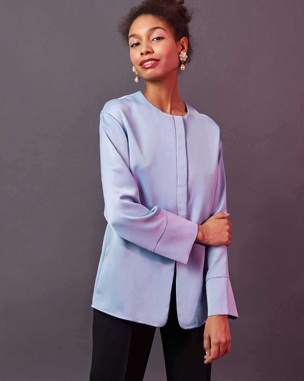 12Storeez Блуза с манжетами (голубой) 12storeez блуза с бантом в горох черная