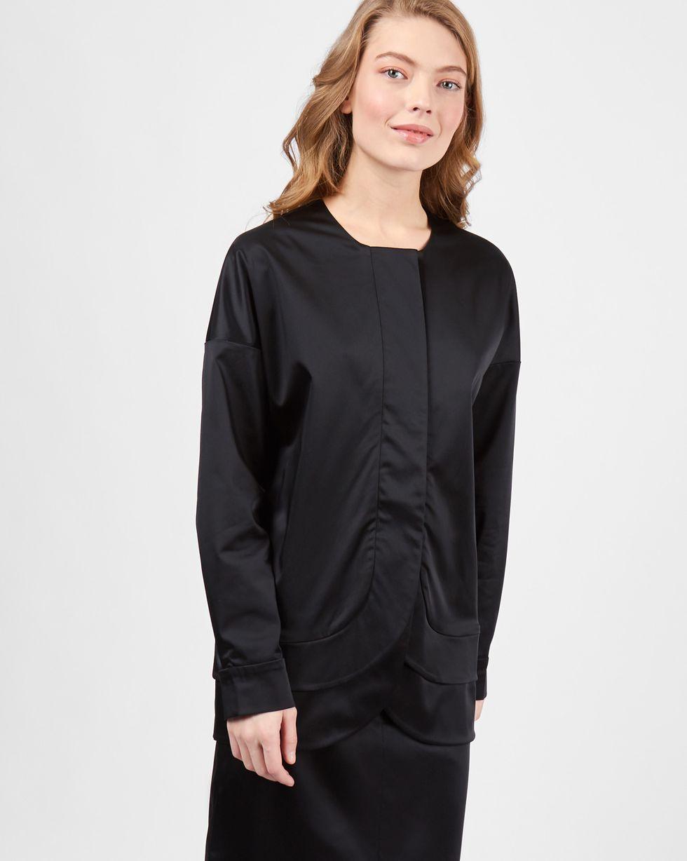 12Storeez Блуза с фигурным низом (черный)