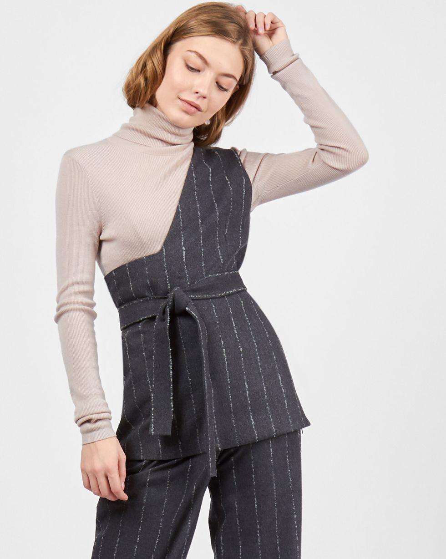 12Storeez Топ на одно плечо в полоску (серый) 12storeez платье комбинация на одно плечо чёрный
