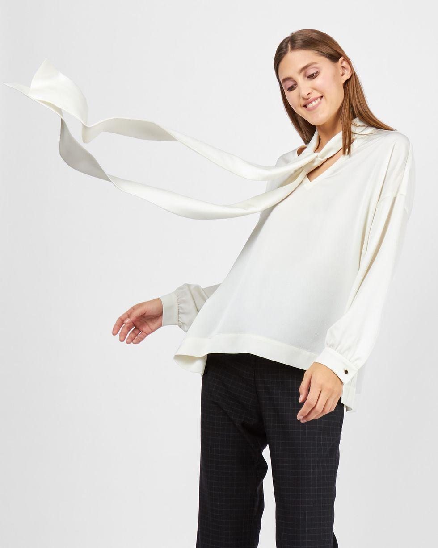 12Storeez Блуза с вырезом и бантом (молочный) блуза