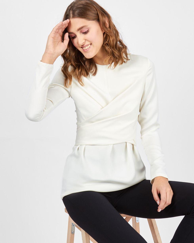 Блуза с завязками на груди LТопы и блузы<br><br><br>Артикул: 82811916<br>Размер: L<br>Цвет: Молочный<br>Новинка: НЕТ<br>Наименование en: Wrap front blouse