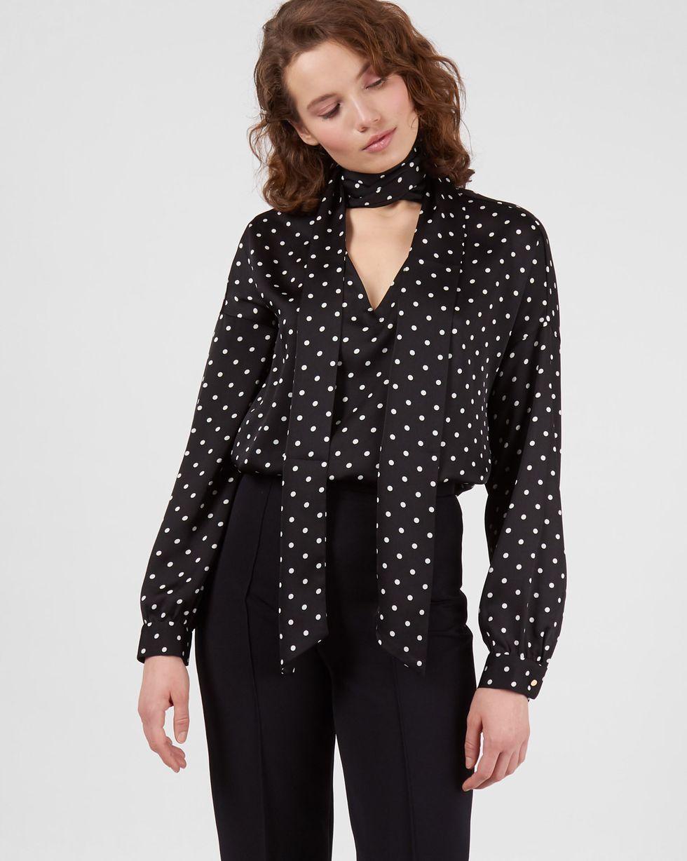 12Storeez Блуза с вырезом и бантом в горошек (черный) блуза rosanna pellegrini блузы в горошек