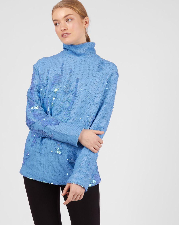 Топ с длинными рукавами из пайеток MТопы и блузы<br><br><br>Артикул: 82812351<br>Размер: M<br>Цвет: Голубой<br>Новинка: НЕТ<br>Наименование en: Long sleeve sequin top