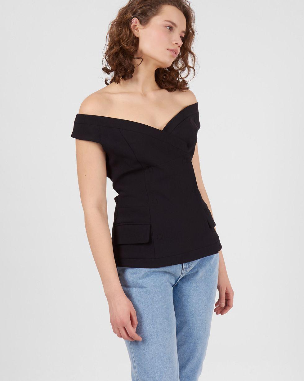 Топ двубортный MТопы и блузы<br><br><br>Артикул: 82812354<br>Размер: M<br>Цвет: Черный<br>Новинка: НЕТ<br>Наименование en: Double-breasted top