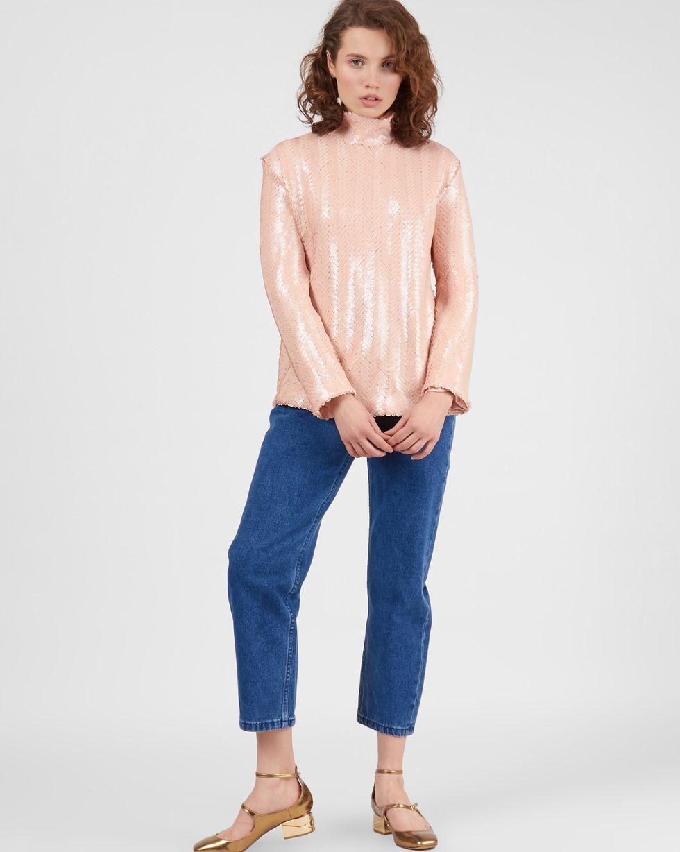 12Storeez Топ с длинными рукавами из мелких пайеток (розовый) сорочка с длинными рукавами aygey