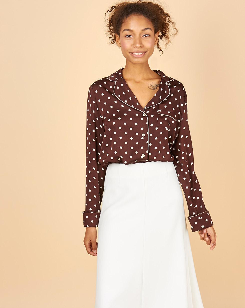 12Storeez Блуза с кантом в горох (коричневый) 12storeez блуза удлиненная с круглым воротником коричневый