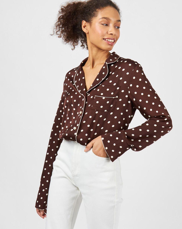 12Storeez Блуза с кантом в горох (коричневый)
