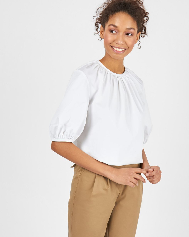 12Storeez Блуза объемная с короткими рукавами (белый) блуза