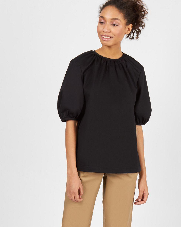 12Storeez Блуза объемная с короткими рукавами (черный) 12storeez блуза объемная на завязках бежевый