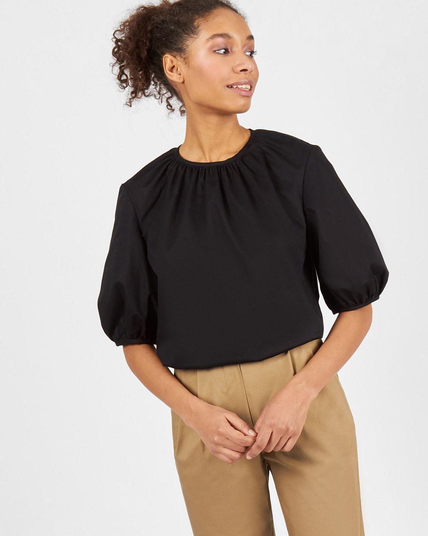 Блуза объемная с короткими рукавами LТопы и блузы<br><br><br>Артикул: 82813113<br>Размер: L<br>Цвет: Черный<br>Новинка: НЕТ<br>Наименование en: Puffed sleeve blouse