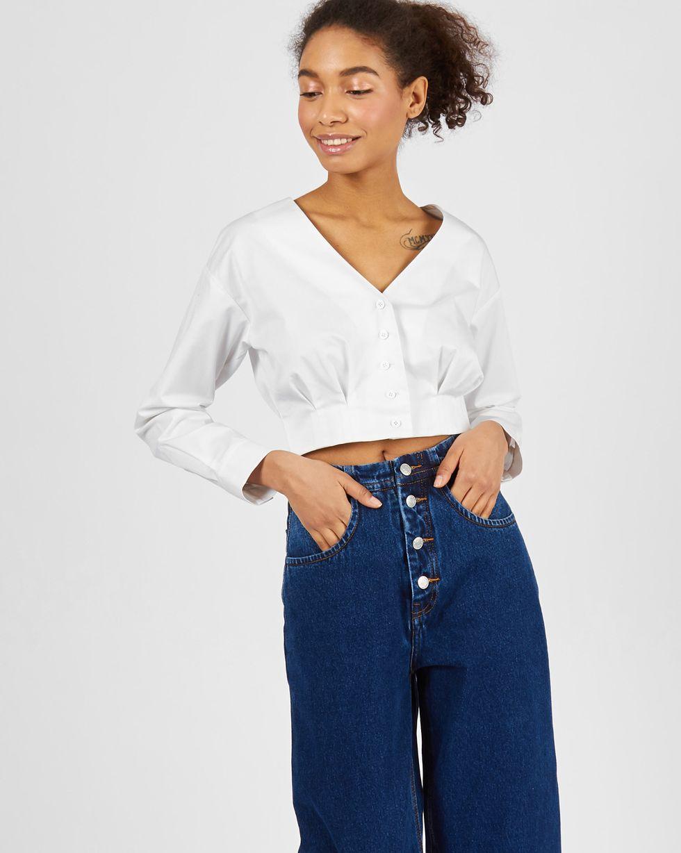 Блуза из плотного хлопка на пуговицах MТопы и блузы<br><br><br>Артикул: 82813161<br>Размер: M<br>Цвет: Белый<br>Новинка: ДА<br>Наименование en: Cropped poplin blouse
