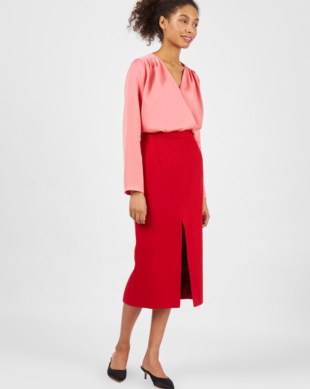 Блуза объемная с запахом LТопы и блузы<br><br><br>Артикул: 82813551<br>Размер: L<br>Цвет: Розовый<br>Новинка: НЕТ<br>Наименование en: Oversized wrap front blouse