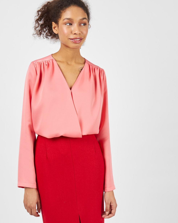 12Storeez Блуза объемная с запахом (розовый) 12storeez блуза объемная на завязках бежевый