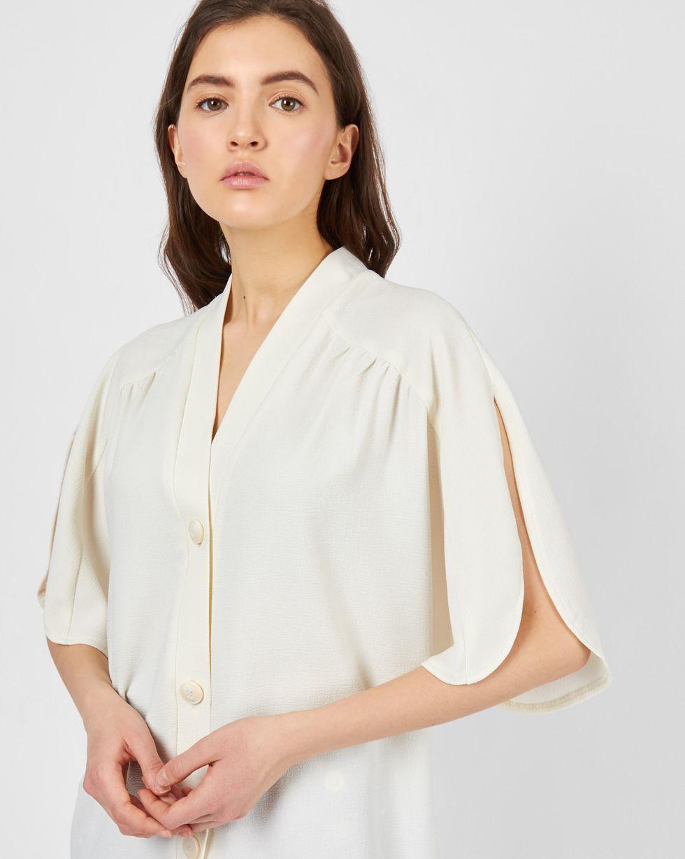 12Storeez Блуза с глубоким вырезом на пуговицах (молочный) недорго, оригинальная цена