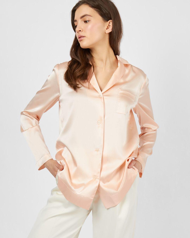 12Storeez Блуза на пуговицах из шелка (персиковый) 12storeez блуза с бантом в горох черная