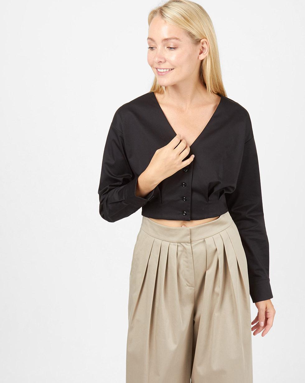 12Storeez Блуза из плотного хлопка на пуговицах (черный) блуза