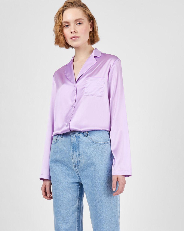 12Storeez Блуза на пуговицах из шелка (сиреневый) 12storeez блуза с бантом в горох черная