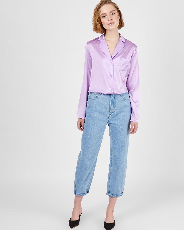 Блуза на пуговицах из шелка XSТопы и блузы<br><br><br>Артикул: 82813672<br>Размер: XS<br>Цвет: Сиреневый<br>Новинка: НЕТ<br>Наименование en: Silk button down blouse