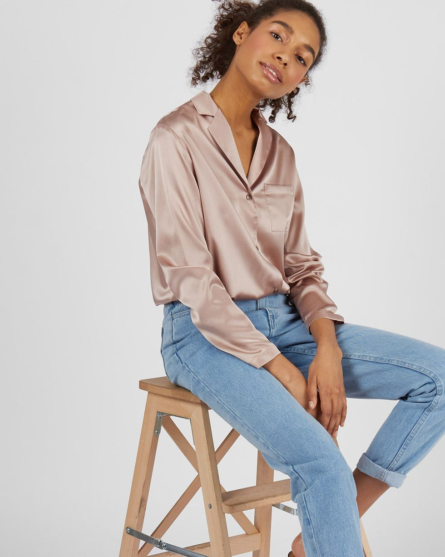 Блуза на пуговицах из шелка LТопы и блузы<br><br><br>Артикул: 82813673<br>Размер: L<br>Цвет: Кофейный<br>Новинка: НЕТ<br>Наименование en: Silk button down blouse