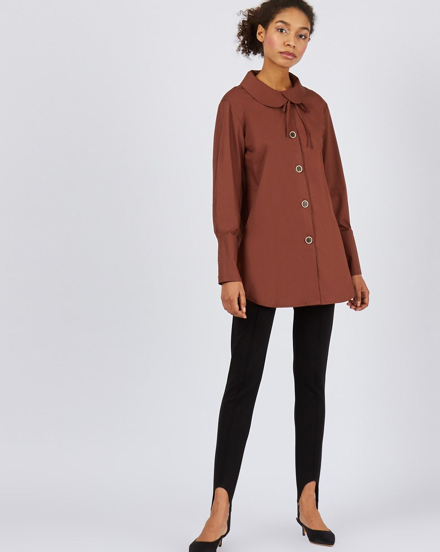 12Storeez Блуза удлиненная с круглым воротником (коричневый) 12storeez блуза удлиненная с круглым воротником коричневый