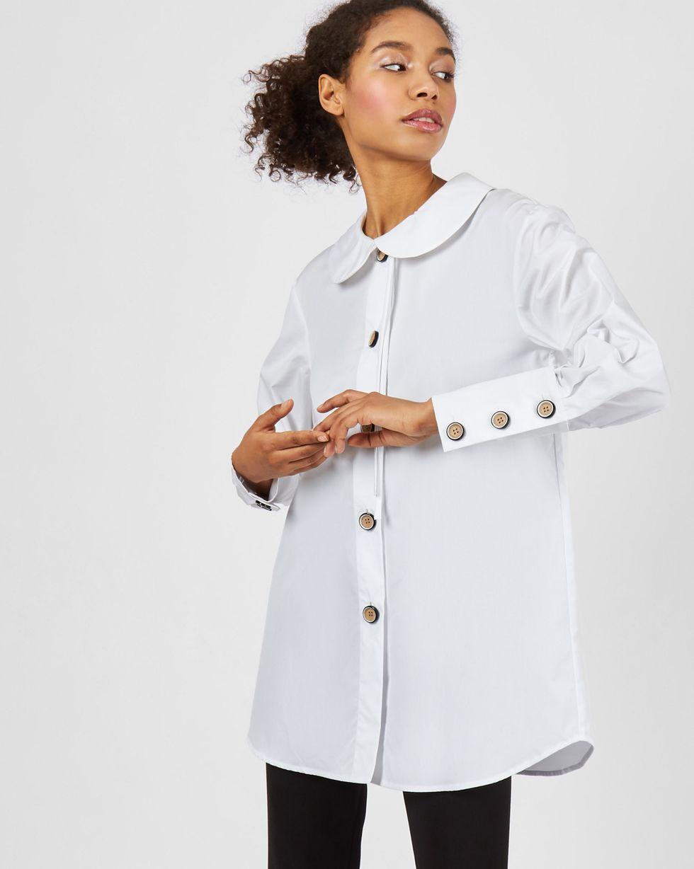 12Storeez Блуза удлиненная с круглым воротником (белый)