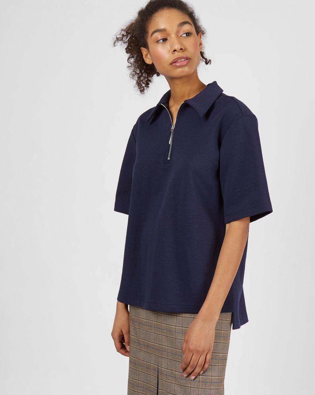 Топ на замке SТопы и блузы<br><br><br>Артикул: 82813878<br>Размер: S<br>Цвет: Синий<br>Новинка: НЕТ<br>Наименование en: Zip-up polo shirt