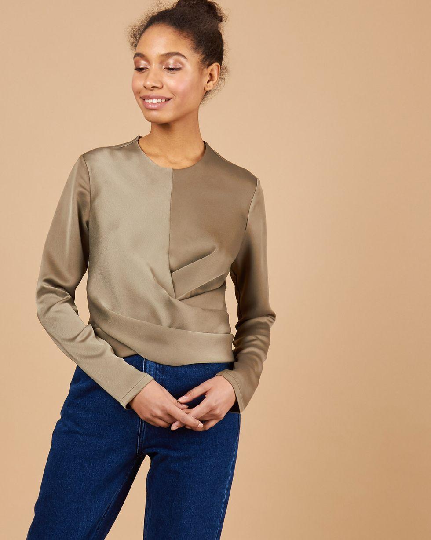 12Storeez Блуза с завязками на груди (хаки) блуза