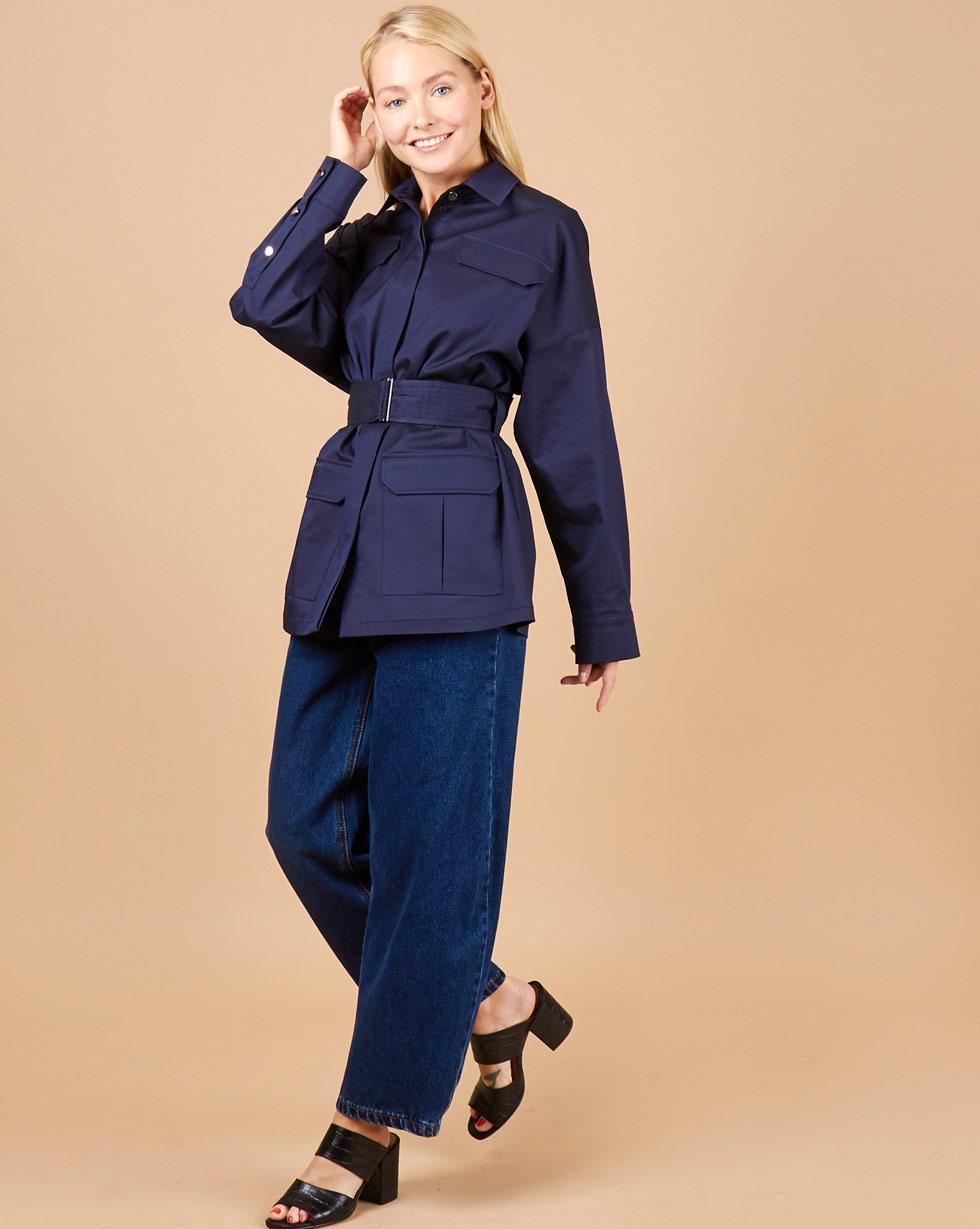 12Storeez Блуза с поясом и накладными карманами (темно-синий)