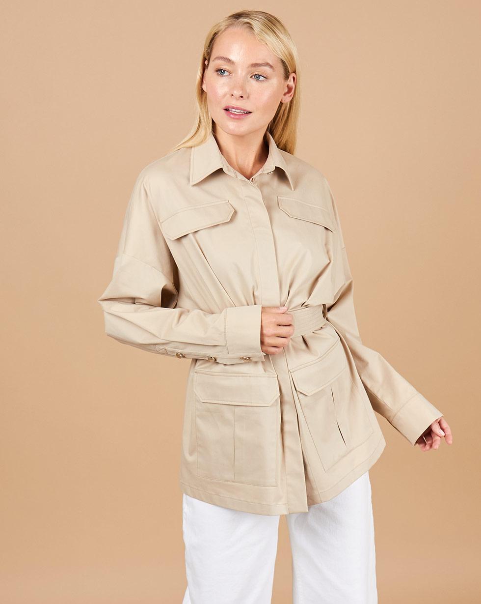 12Storeez Блуза с поясом и накладными карманами (светло-бежевый) все цены