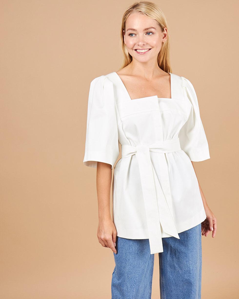 12Storeez Блуза с объемными рукавами (белый)