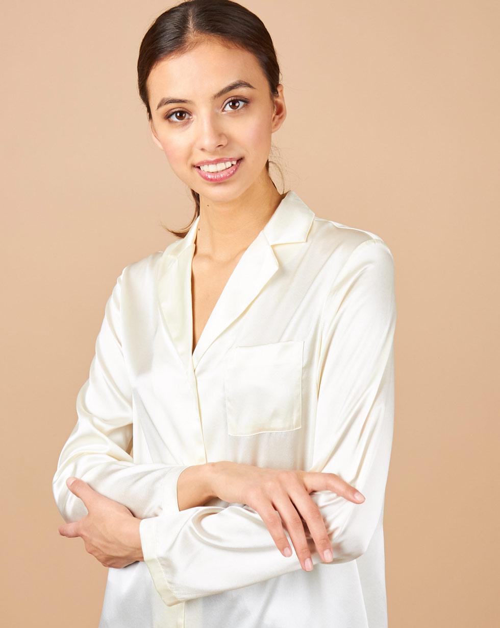 12Storeez Блуза на пуговицах из шелка (молочный) недорго, оригинальная цена