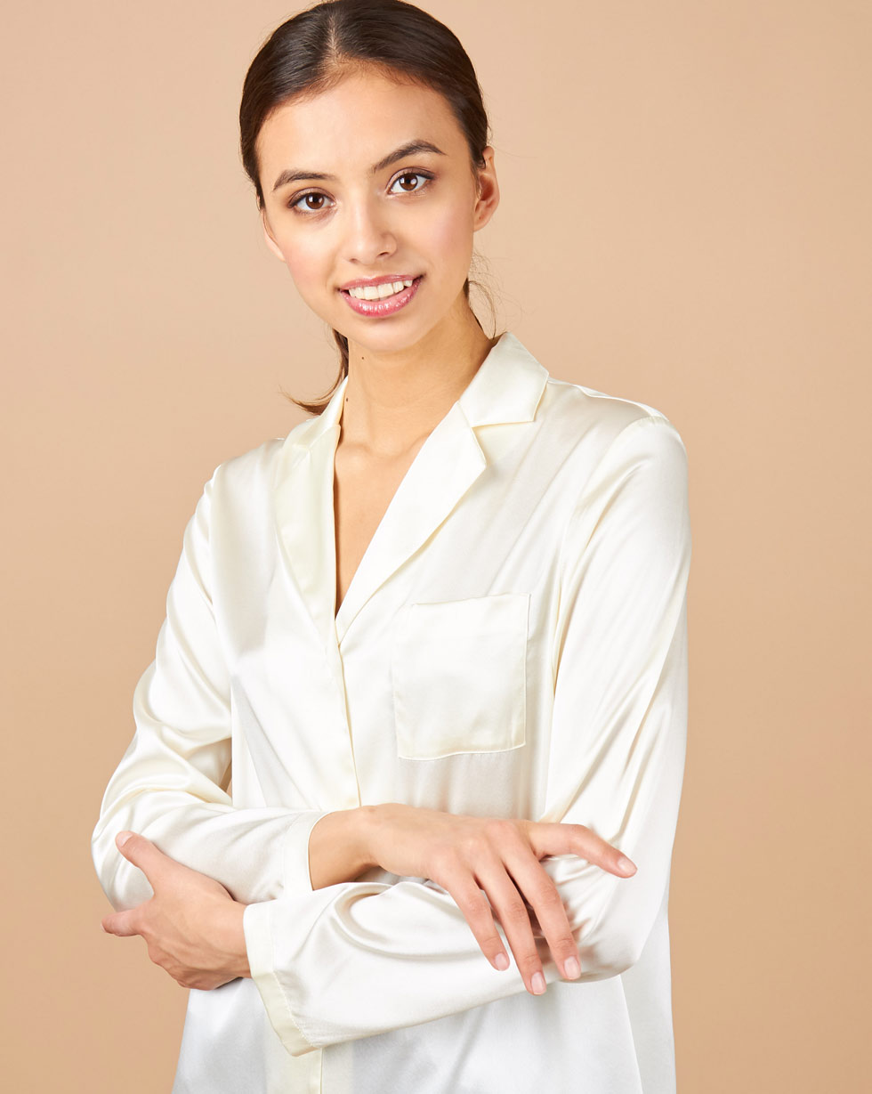 12Storeez Блуза на пуговицах из шелка (молочный) блуза apart блуза