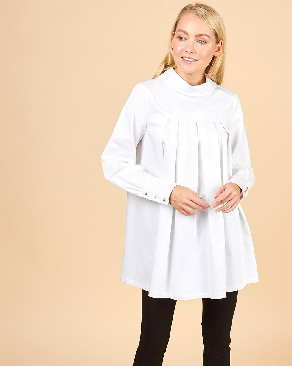 12Storeez Блуза со складками (белый) блуза петербургский швейный дом блузы свободного покроя