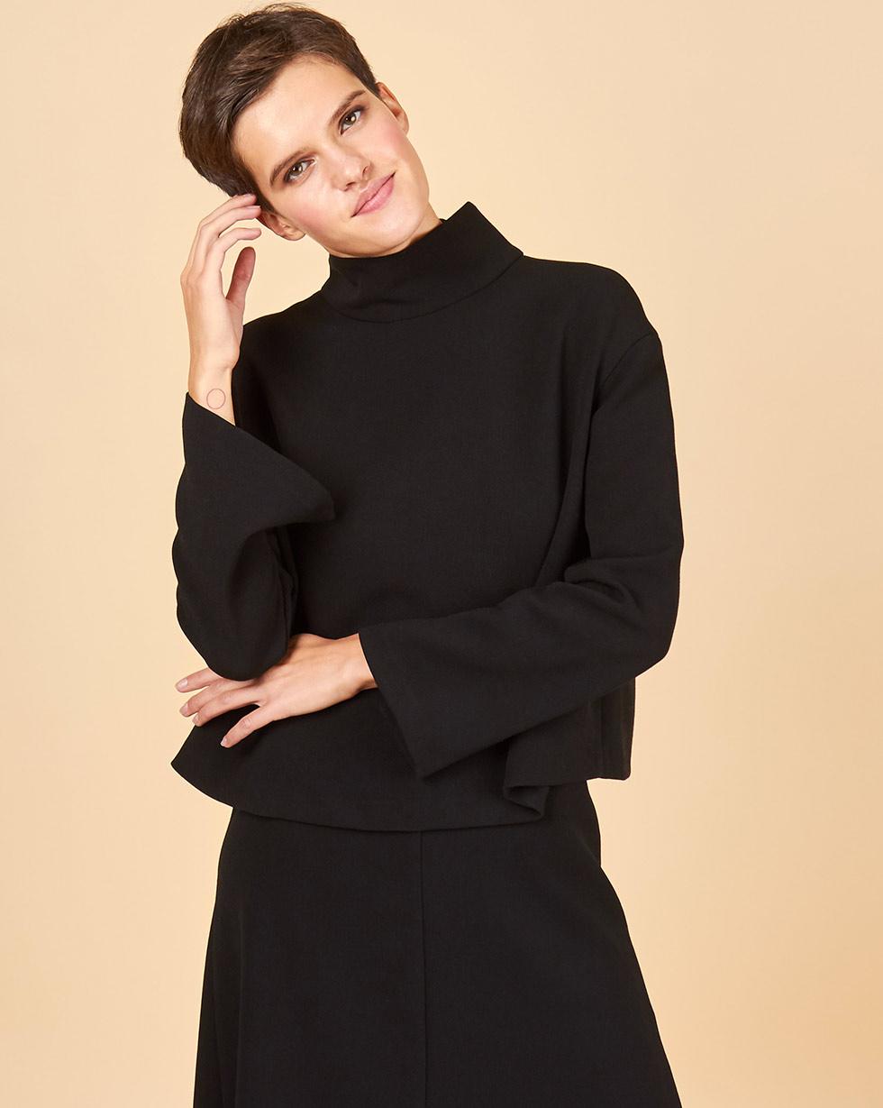 цена 12Storeez Блуза со стойкой (черный) онлайн в 2017 году