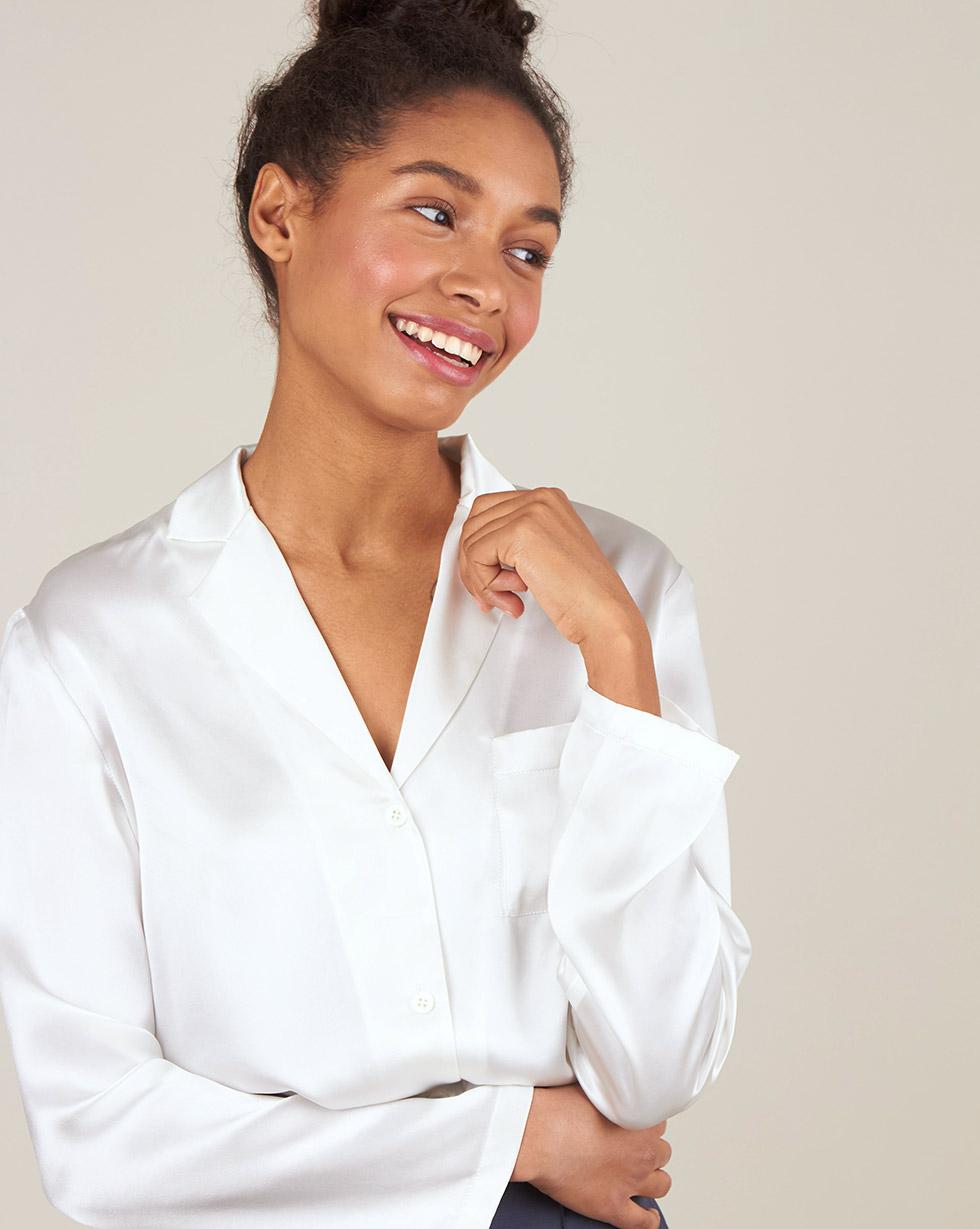 12Storeez Блуза на пуговицах из шёлка (бежевый) 12storeez шуба укороченная из искусственного меха бежевый