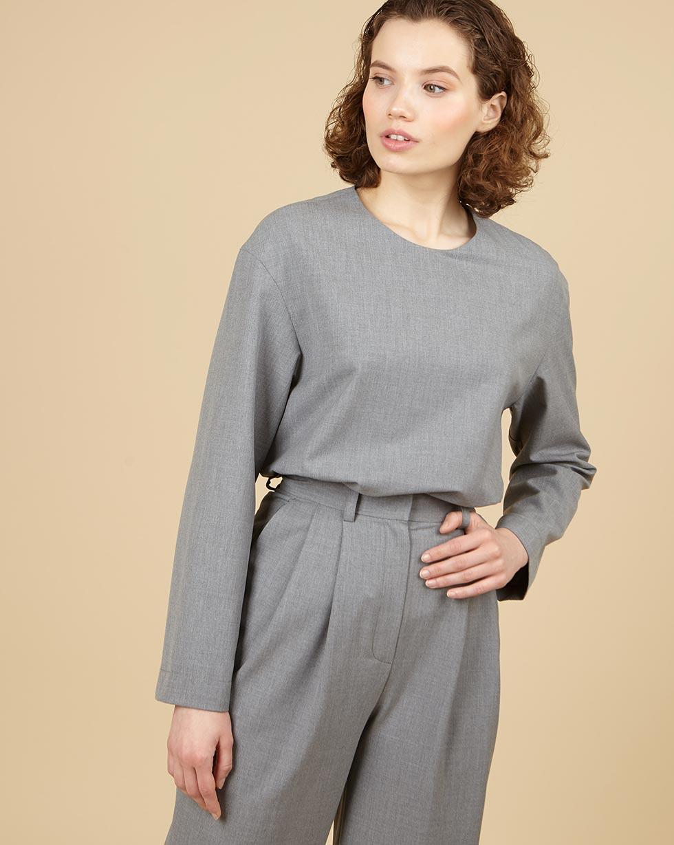 12Storeez Топ со спущенными плечами (серый) 12storeez платье пиджак со спущенными плечами серый