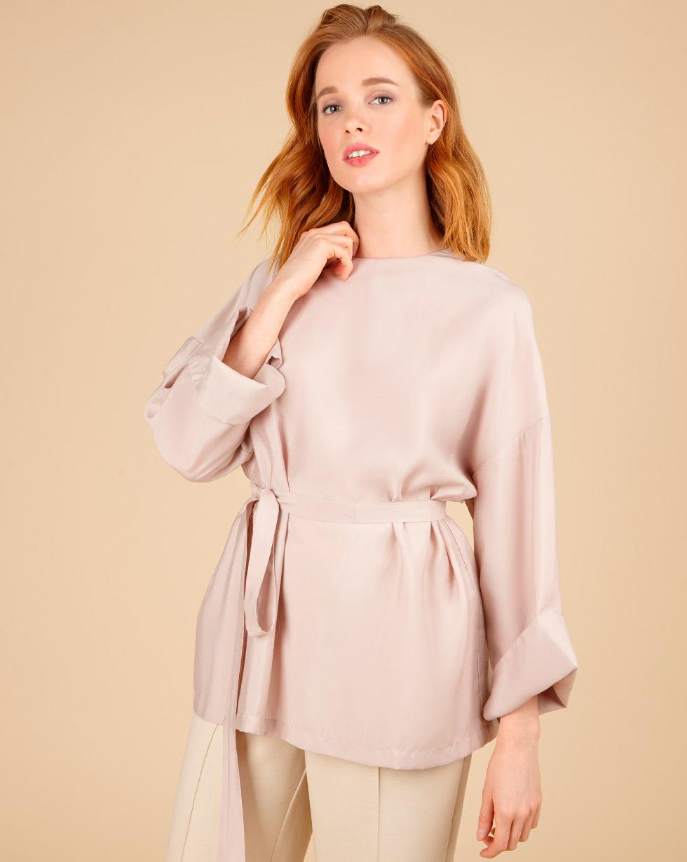 цена 12Storeez Блуза свободная с поясом онлайн в 2017 году