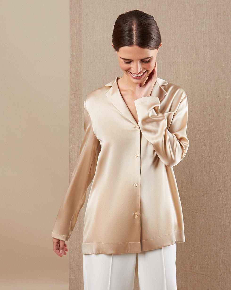 12Storeez Блуза на пуговицах из шёлка (бежевый)