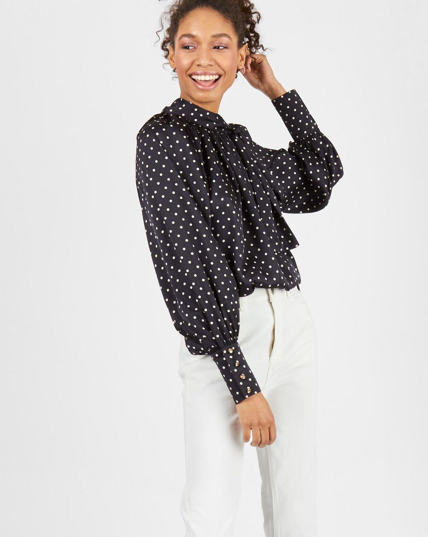 12Storeez Блуза с бантом в горох (черная) блуза jennyfer jennyfer je008ewwme30